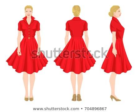 girl in red dress turned back with a smile Stock photo © RuslanOmega