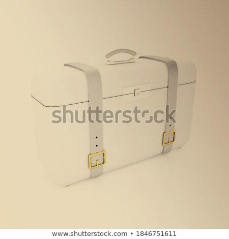 Metal · kutu · kağıtları · yalıtılmış · beyaz · kâğıt - stok fotoğraf © broker
