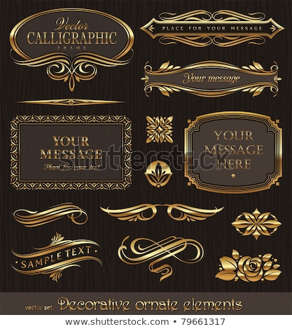 Gold Decorative Labels and Swirls stock photo © liliwhite