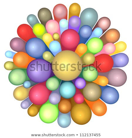3d radiant flower pattern in multiple rainbow color on white Stock photo © Melvin07