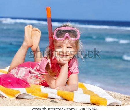 Kislány búvárpipa égbolt sport gyermek nyár Stock fotó © photography33
