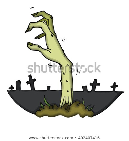 zombie stretching his creepy hands from the grave stock photo © elisanth