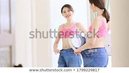Сток-фото: азиатских · девушки · джинсов · бюстгальтер · красивой