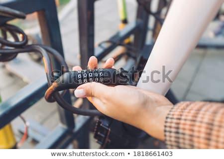 велосипедов · блокировка · цепь · изолированный · белый · ключевые - Сток-фото © foka