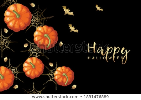 Halloween pumpkin with leafs and frame Stock photo © WaD