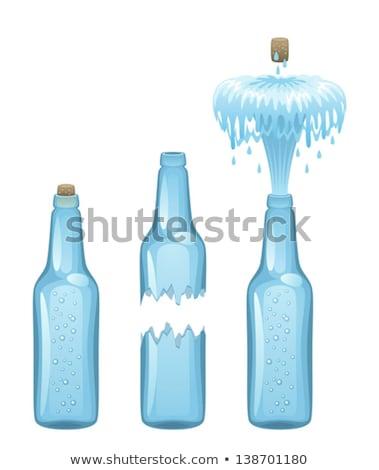 gebroken · glas · fles · waterdruppels · druppels · water · bier - stockfoto © yul30