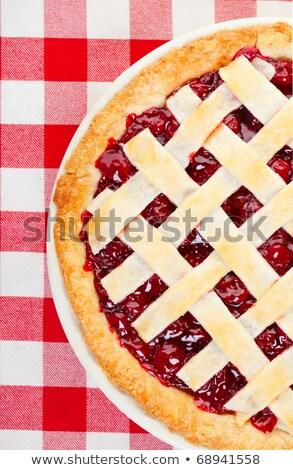 cseresznyés · pite · fehér · cseresznye · desszert · pite · friss - stock fotó © shutswis