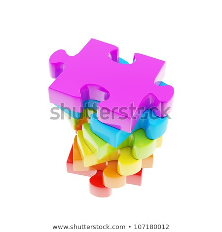 Foto stock: Color · rompecabezas · arco · iris · piezas · del · rompecabezas · resumen