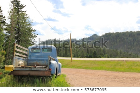 rusted blue vintage pickup truck stock photo © snyfer
