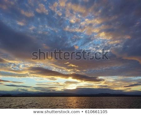 puesta · de · sol · lago · Nueva · York · superior · Vermont · EUA - foto stock © DonLand