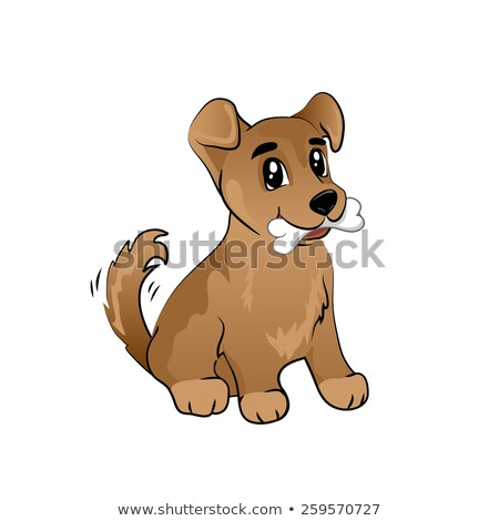 Bruin puppy bot vector cartoon illustratie Stockfoto © fizzgig