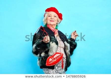 старушку голову шарф счастливым удовлетворенный посмотреть Сток-фото © ozgur