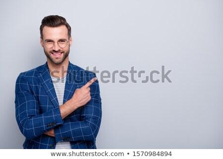 ストックフォト: 小さな · あごひげを生やした · 男 · 笑みを浮かべて · ポインティング · 指