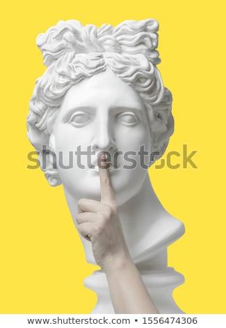 пальца молчание знак человека ребенка лице Сток-фото © ia_64