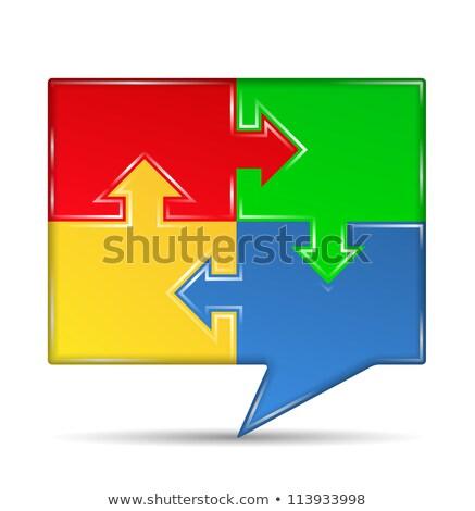 white speech bubble icon on red puzzle stock photo © tashatuvango