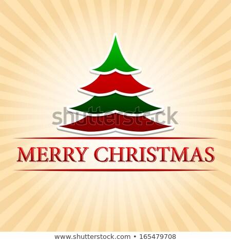 merry christmas with christmas tree over beige rays Stock photo © marinini