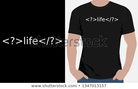 Man in black t-shirt with question mark Stock photo © stevanovicigor