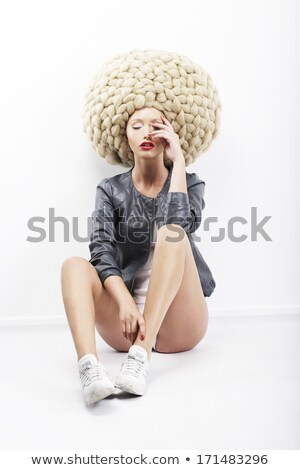 Inspiration. Vogue.  Image of Eccentric Fashion Model in Plaited Headdress Stock photo © gromovataya
