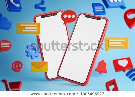 3d smartphone with cloud of messages stock photo © 3dmask