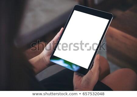 yandan · görünüş · işkadını · dijital · tablet · ofis · işadamı - stok fotoğraf © stockyimages