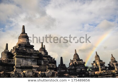 Rainbow Borobudur complex in Yogjakarta in Java Stock photo © weltreisendertj