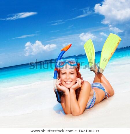 ビキニ 少女 スキューバダイビング マスク かなり シュノーケル ストックフォト © fouroaks