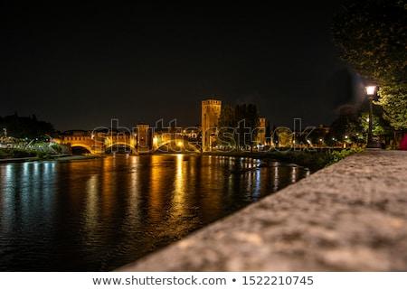 Oude brug verona rivier huis muur Stockfoto © meinzahn