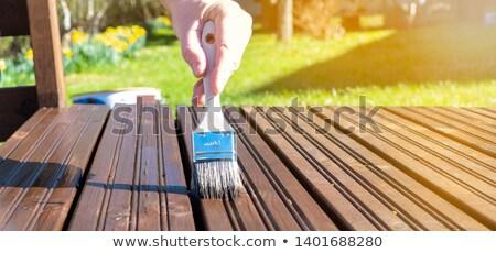 terras · onderhoud · borstel · olie · voorjaar - stockfoto © bigandt