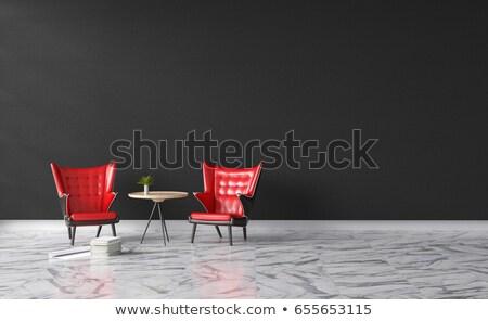 Bianco muro di mattoni ufficio pelle poltrona illuminazione Foto d'archivio © vizarch