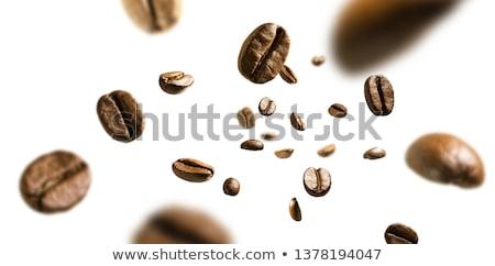 Siyah kahve fasulye yalıtılmış beyaz Stok fotoğraf © boroda