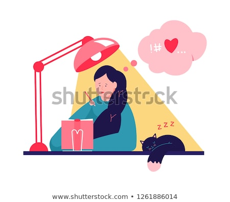 Teenage Girl Writing Diary And Dreaming About Love  stock photo © lordalea
