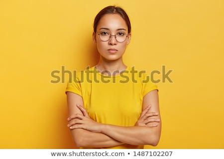 Stockfoto: Asian · vrouw · denken · peinzend · teken · Rood
