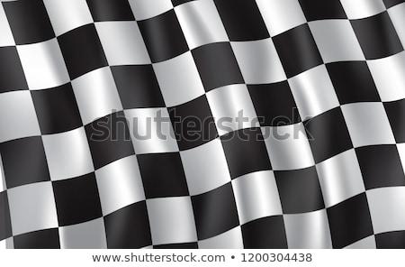 Flagi silnikowych wyścigi czarno białe banderą Zdjęcia stock © fenton