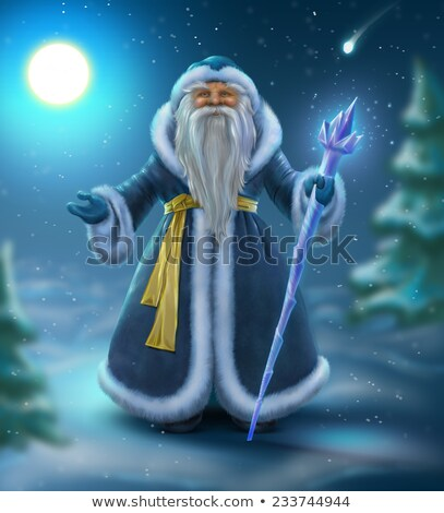 Russian blue Santa outdoors Stock photo © orensila