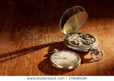 懐中時計 グランジ 木製のテーブル テクスチャ 木材 クロック ストックフォト © nessokv