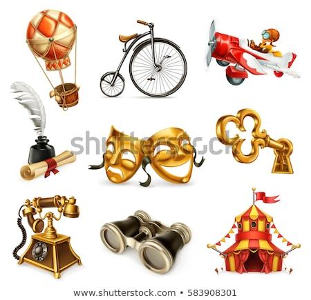 binocular golden vector icon design stock photo © rizwanali3d