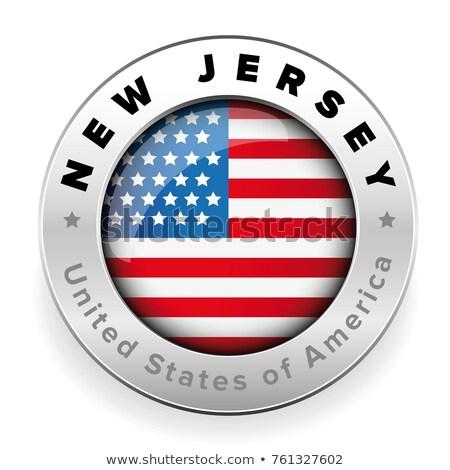 Stok fotoğraf: Harita · bayrak · düğme · ABD · New · Jersey · vektör