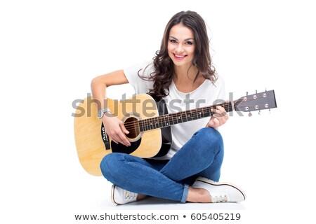Stockfoto: Jonge · glimlachend · meisje · gitaar · geïsoleerd · witte
