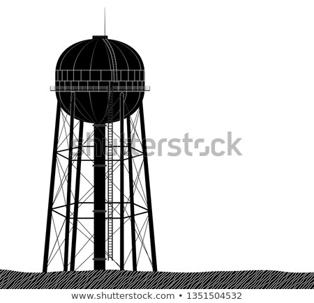Water towers in black and white Stock photo © rmbarricarte
