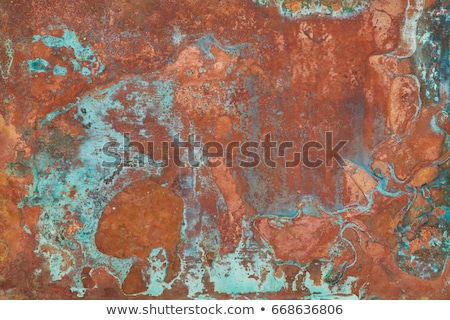oxidized green copper plate texture as background stock photo © stevanovicigor