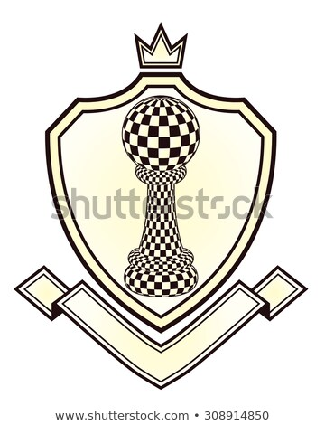 Heraldry Royal crest with chess pawn, vector illustration Stock photo © carodi