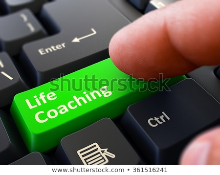 Life Coaching Concept. Person Click Keyboard Button. Stock photo © tashatuvango