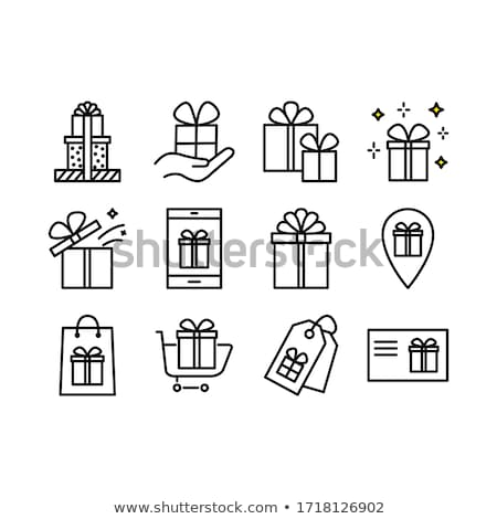 Stock photo: striped gift cards with ribbon