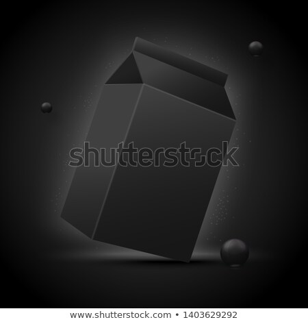 Milk, Juice, Beverages, Carton Package Blank White On Black Background Isolated Stock photo © netkov1