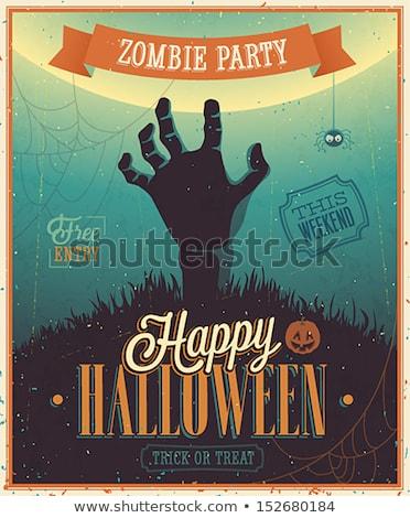 Halloween zombie partij poster vakantie kaart Stockfoto © WaD