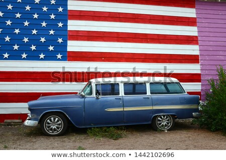 Car and stripes, car parked in front of a building with striped  Stock photo © jeancliclac