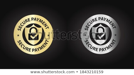 Segura transacción dorado vector icono botón Foto stock © rizwanali3d
