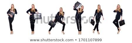 Wysoki młoda kobieta czarny odzież torebka odizolowany Zdjęcia stock © Elnur
