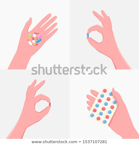 Vector of human hand with capsules. Stock photo © Morphart