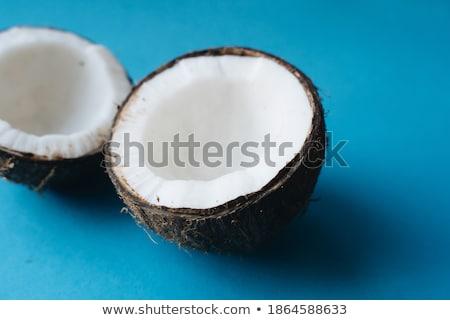 Stockfoto: Kokosnoot · gebroken · Open · klaar · eten · hout
